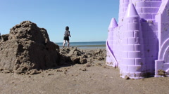 Father and Son Playing On The Beach Stock Footage