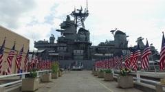 Uss Missouri battleship - Pearl harbor, slider shot Stock Footage