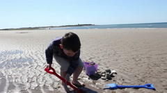 A Little Boy On The Beach Making Sandcastles Stock Footage