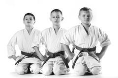 Karate boy in kimono fighting on a white background Stock Photos