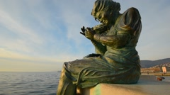 Italy, Trieste. A beautiful bronze sculpture woman. Stock Footage