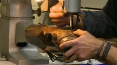 Shoe Repair Machine Stitching Boot = Stock Footage