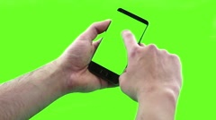 Holding touchscreen device, close-up of male hand using a smart phone Stock Footage