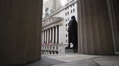 New York City's Wall Street establishing shot Stock Footage