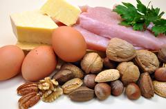 Healthy Diet food group, source of protein, include meat (chicken or turkey), Stock Photos