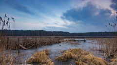 4k timelapse of evening lake at winter. Stock Footage