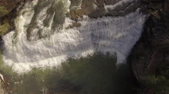 4k Aerial Snow Tennessee Waterfall 002 Bird's Eye View Descent Stock Footage