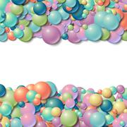 Background frame with scatterd messy glowing rubber balls Stock Illustration