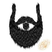 Hairy curly hipster strong beard drawing Stock Illustration