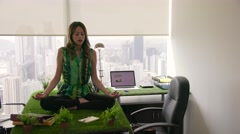 3 Business Woman Doing Yoga Meditation On Table In Office - stock footage