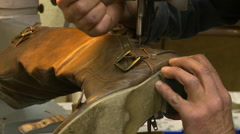 Shoe Repair Machine Stitching Boot  Stock Footage