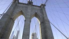 Brooklyn Bridge sunset establishing shot - stock footage
