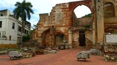 Saint nicholas church ruins, in santo domingo, domenican republic Stock Footage