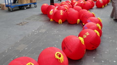 Preparing for Chinese New Year celebrations 2016, Chinatown, London, UK Stock Footage