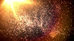 Gold Dust Loop - Particles flying in the Wind with a Sunny Background Flare Stock Footage