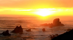 Sunset over the Pacific Ocean from Ecola Point State Park Stock Footage
