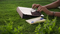 9 Woman Emailing And Texting With Tablet Computer On Grass Stock Footage