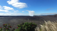 Smoking Kīlauea volcano craters overlook - slider footage, Hawaii, Big Island - stock footage