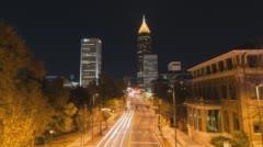 4K Atlanta, Georgia wide static shot of Bank of America Plaza with traffic. Stock Footage