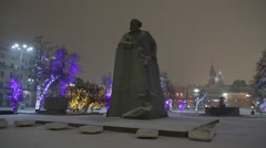 Karl Marks Statue at night in the snow, Central Moscow, Russia Stock Footage