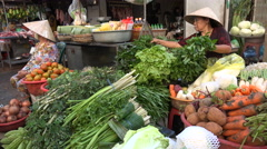 Fresh vegetables, street vendors, local shop, culture, tradition, Mekong Vietnam - stock footage