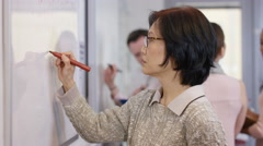 4K Woman writing on whiteboard in office, could be business or educational scene - stock footage
