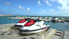 Jet skis on the raft bridge - Bahamas, Coco Key Stock Footage