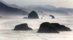 View overlooking Canon Beach and Haystack Rock - stock footage