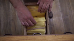 Index Cards Card Catalog Drawer Overhead View - stock footage