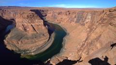 Colorado River at Horseshoe Bend lookout - Navajo Reservation, Arizona - stock footage