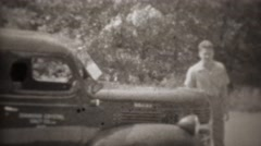 1947: Diamond crystal salt company worker exits car. Stock Footage