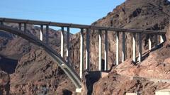 Hoover dam bridge over the Colorado river - 2016. Nevada - stock footage