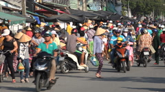 Local crowds visit vibrant food market, shopping for groceries in Vietnam, Asia Stock Footage
