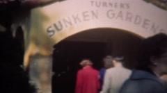 1947: Turner's sunken gardens popular tourist destination. Stock Footage
