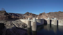 Hoover dam hydroelectric power station towers - stock footage