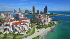 Aerial Fisher Island Stock Footage