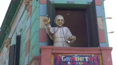 Stock Video Footage of Pope Francis puppet in Caminito, La Boca