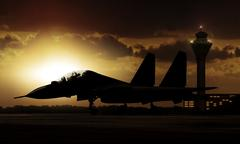 Military Aircraft on airfield ready to take off Stock Photos