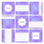 Purple set of vector banners. Background with purple triangles. Web banners card - stock illustration