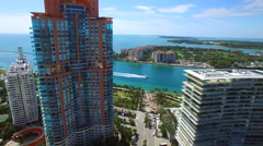 Aerial cinematic Miami Beach Stock Footage