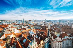Stock Photo of Cityscape of Prague, Czech Republic. View from viewpoint on old