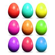 Set of realistic colorful Easter eggs on white background. - stock illustration