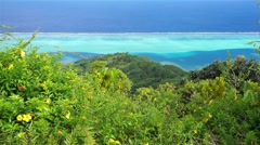 Lagoon from top of mount Huahine French Polynesia - stock footage