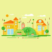 Stock Illustration of Landscape with Cute Little Houses. Vector Illustration