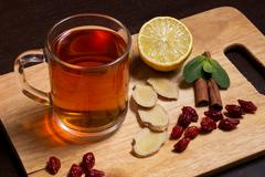 Ginger tea with mint and lemon - stock photo