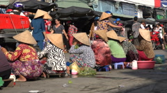 Local bustling farmers market, woman sell fresh food, traditional, Vietnam, Asia Stock Footage