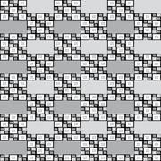 Geometric seamless pattern with grey black and white squares pixel effect - stock illustration