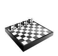 Black and white chessboard and pawns Stock Illustration