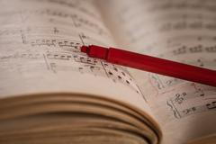 Close up of piano classic music score and note Stock Photos