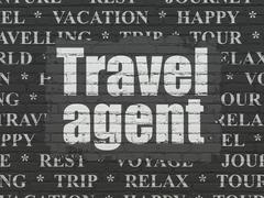Stock Illustration of Travel concept: Travel Agent on wall background